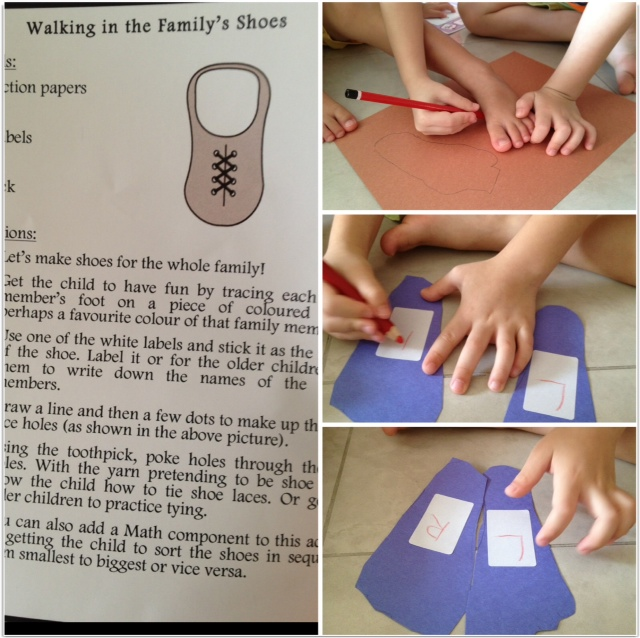 Tracing shape of foot