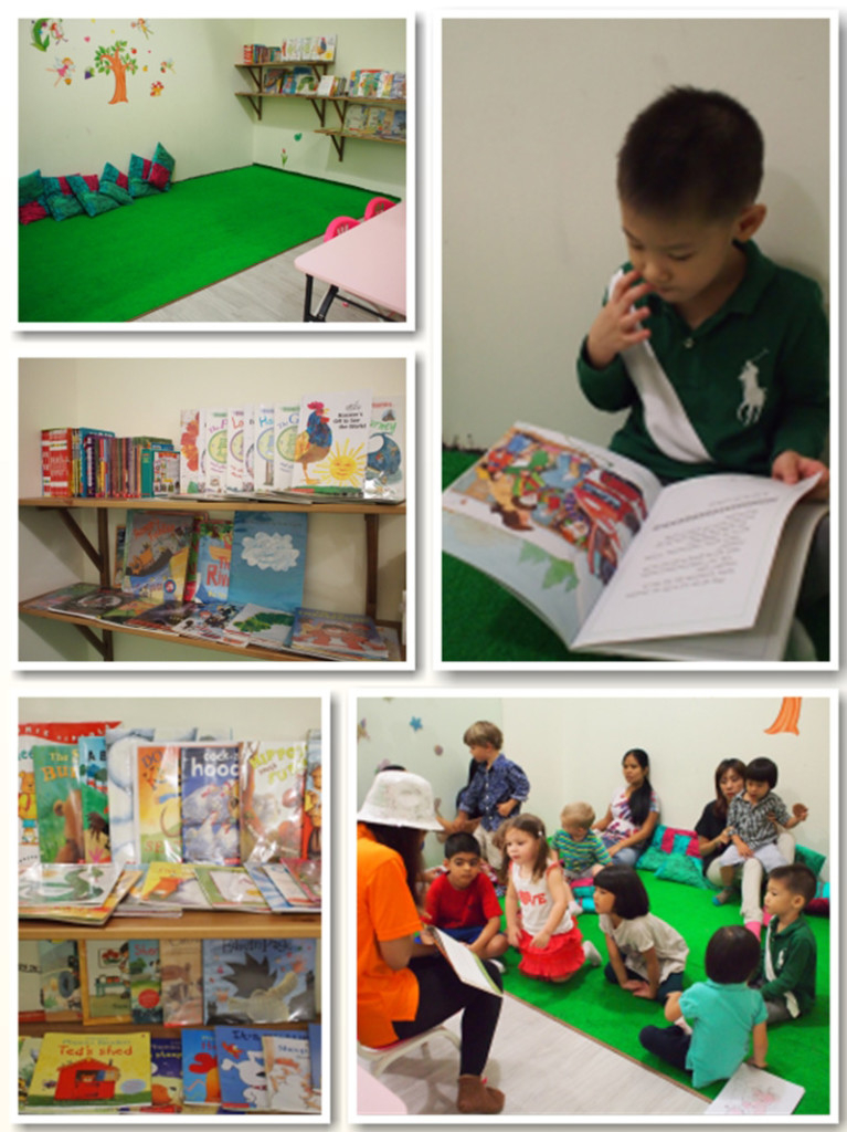 The reading corner: there was even a storytelling session that day we were there!