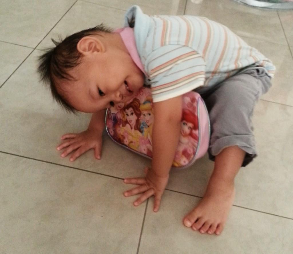 Nat at 16 months with Becks' bag