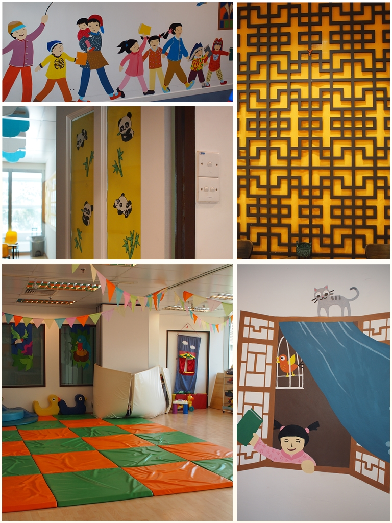 A very bright and cheery learning environment that highlights the richness of the Chinese culture
