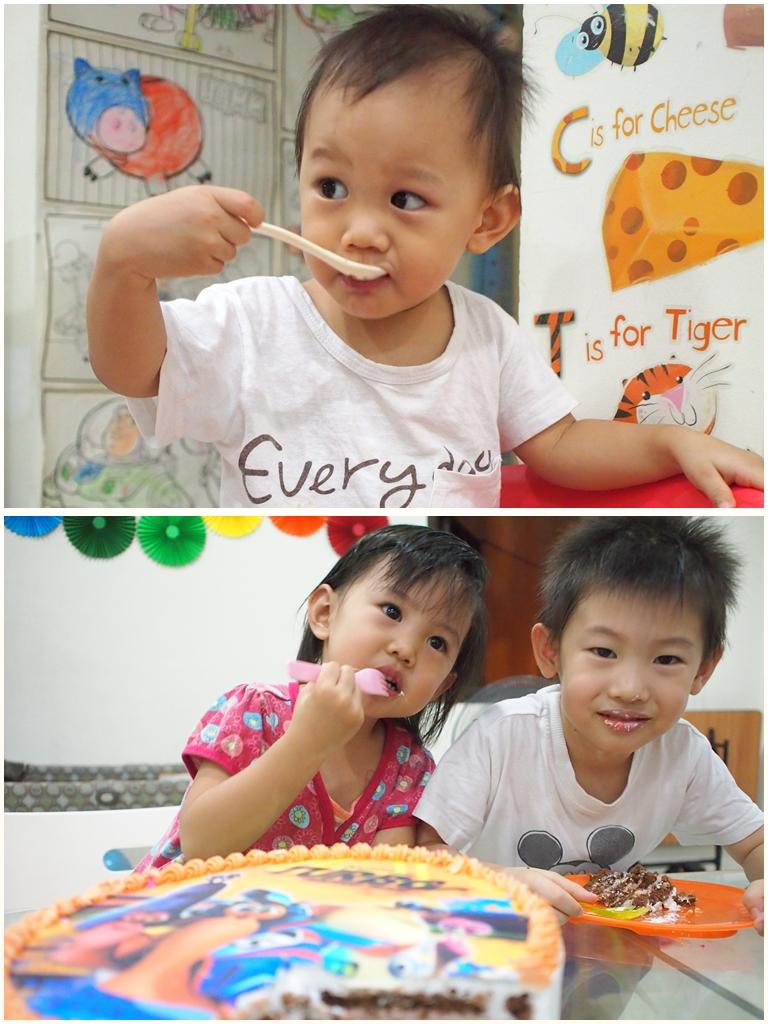 Enjoying cake