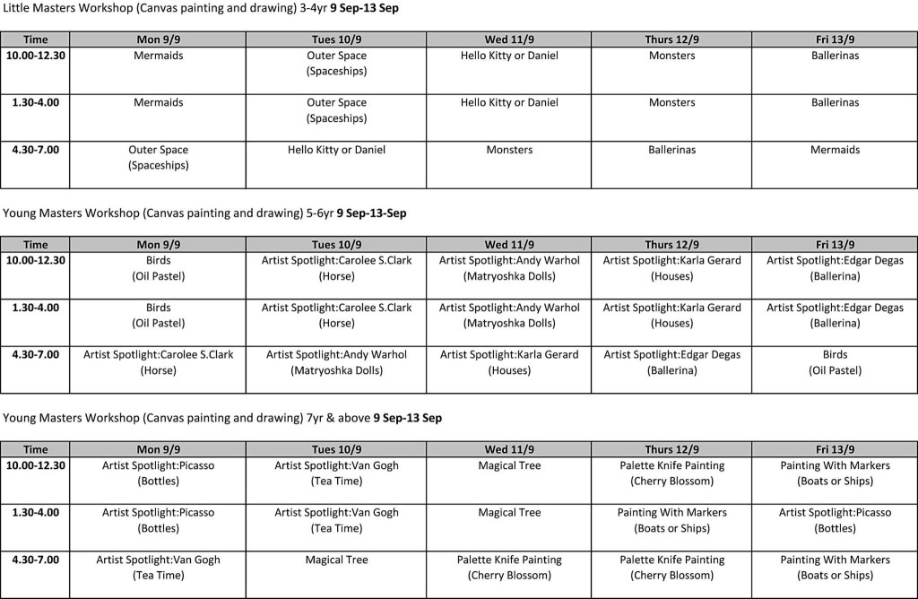 heART Studio Schedule for Sept Holiday Programme