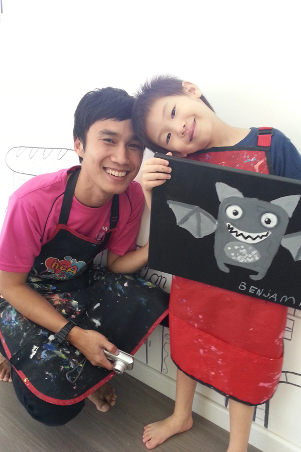 Ben with Teacher Syafiq, who was extremely patient and encouraging, and very good with kids!