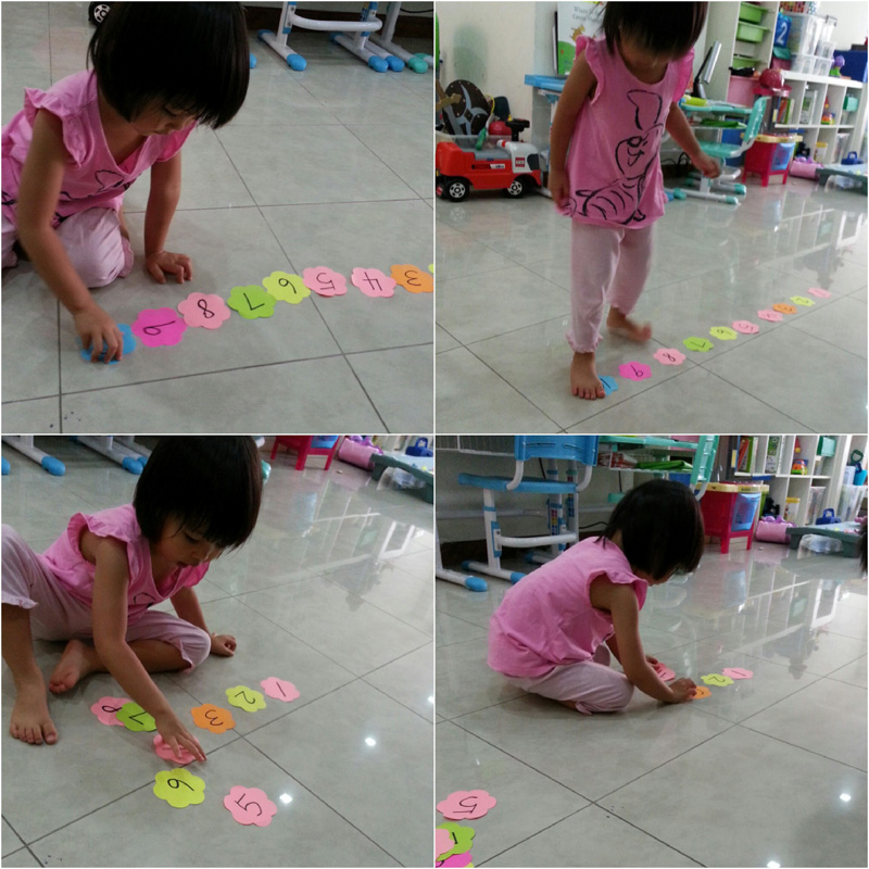 Getting the three-year-old to arrange numbers in ascending order