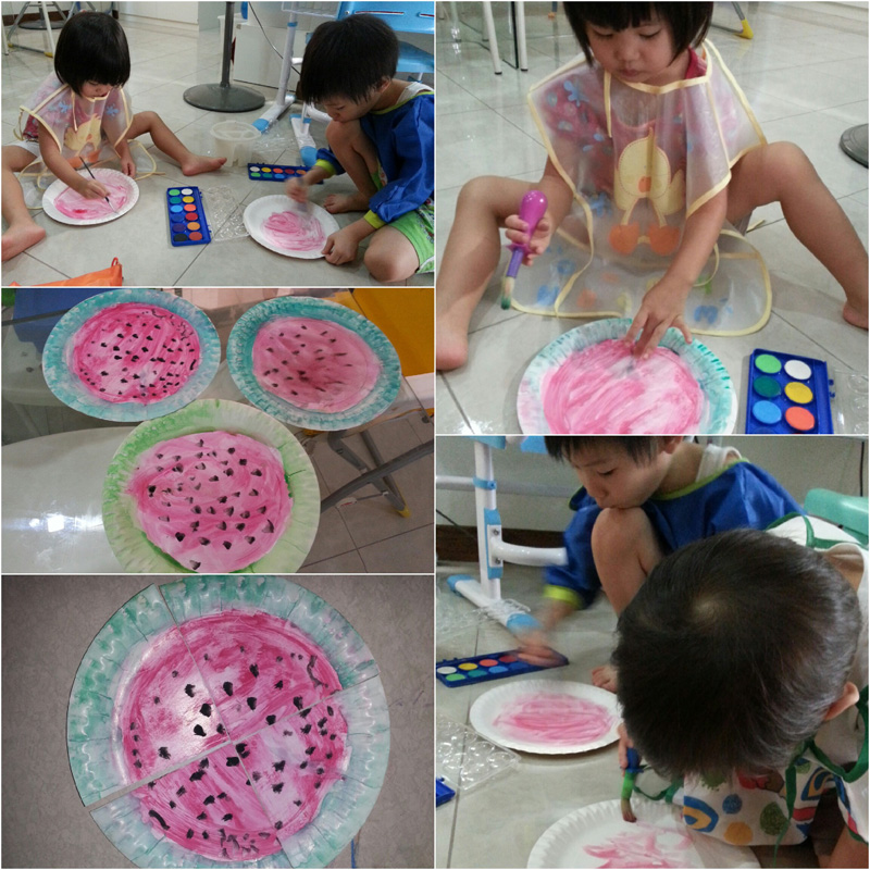 Making a watermelon: we first painted red on the inside, green on the outer circle, and then dabbed black dots on the red circle
