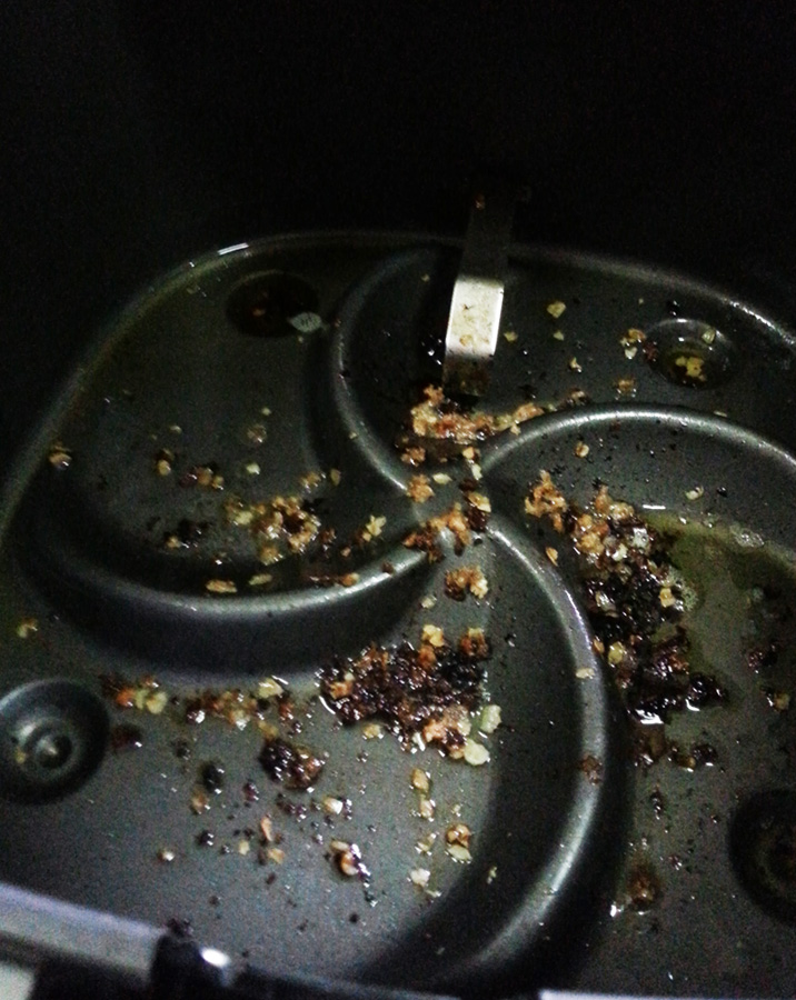 The oil left in the pan even though I hadn't added any!
