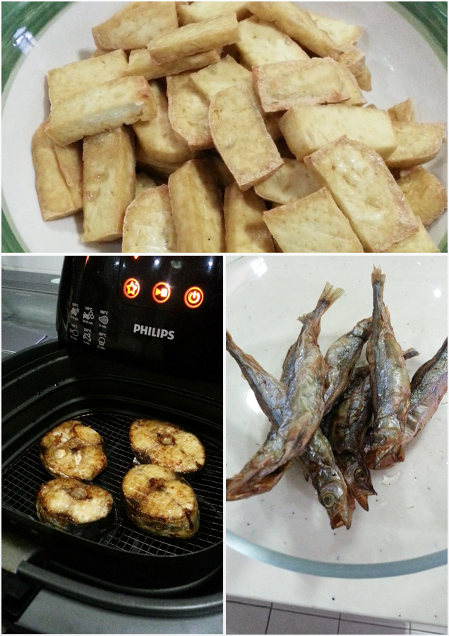 Recently airfried for dinner: tau kwa, shishamo and batang fish