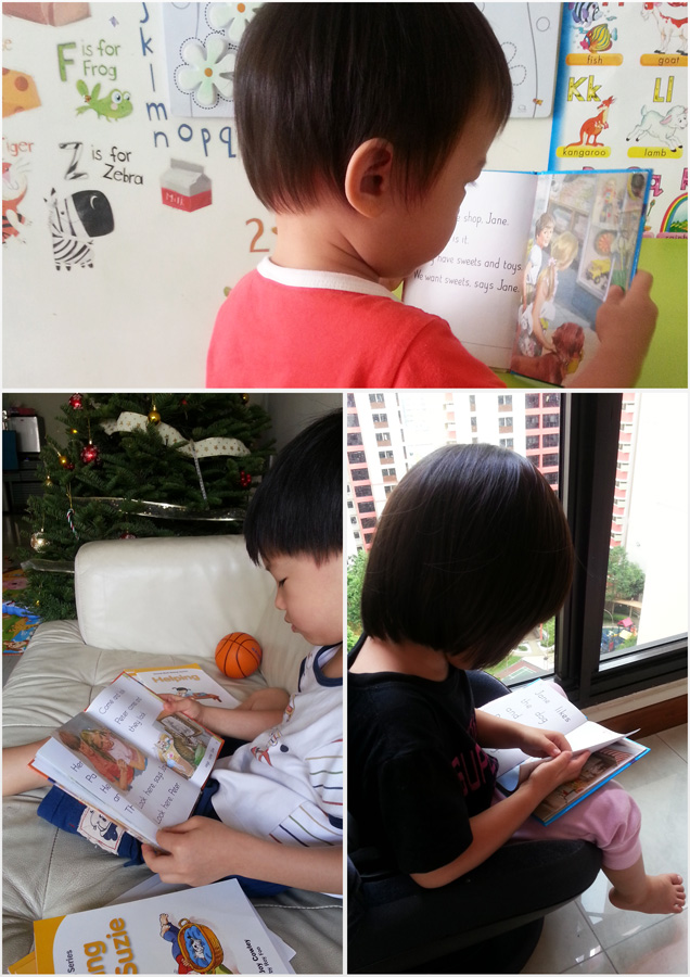 The kid reading Peter and Jane: for the younger ones, it's more of looking at the illustrations, which are captivating, by the way