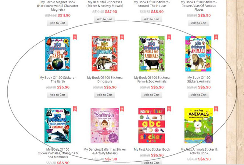 A screenshot of some of the bargains under Activity Books for Children - I'm thinking of getting 100 Stickers Series for some sticker fun for Nat!