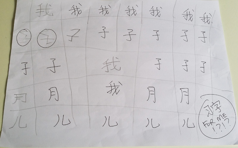 So one day I came home and found that I needed to do 习字 !!!