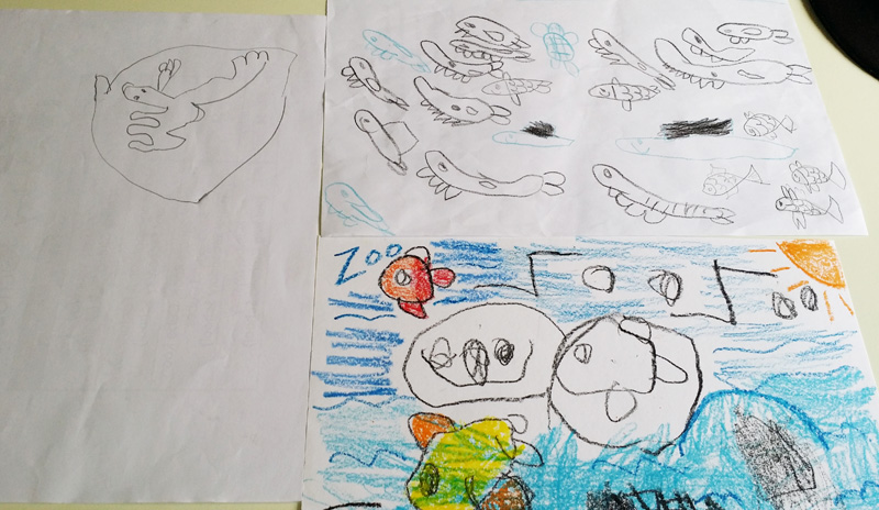 Ben's drawings of animals at 4 years old