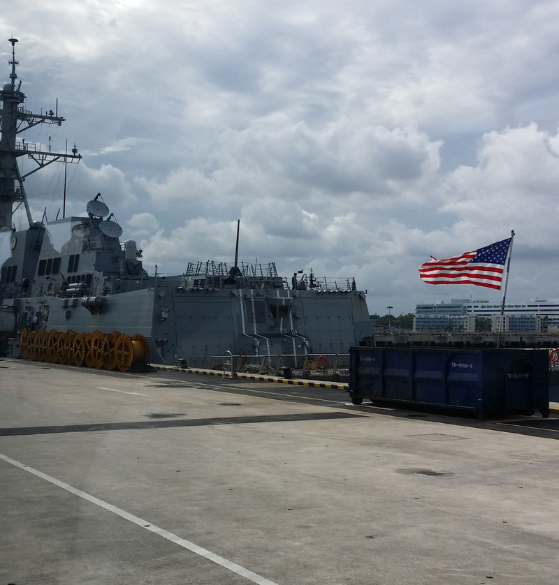 A US Vessel docking at Changi Naval Base