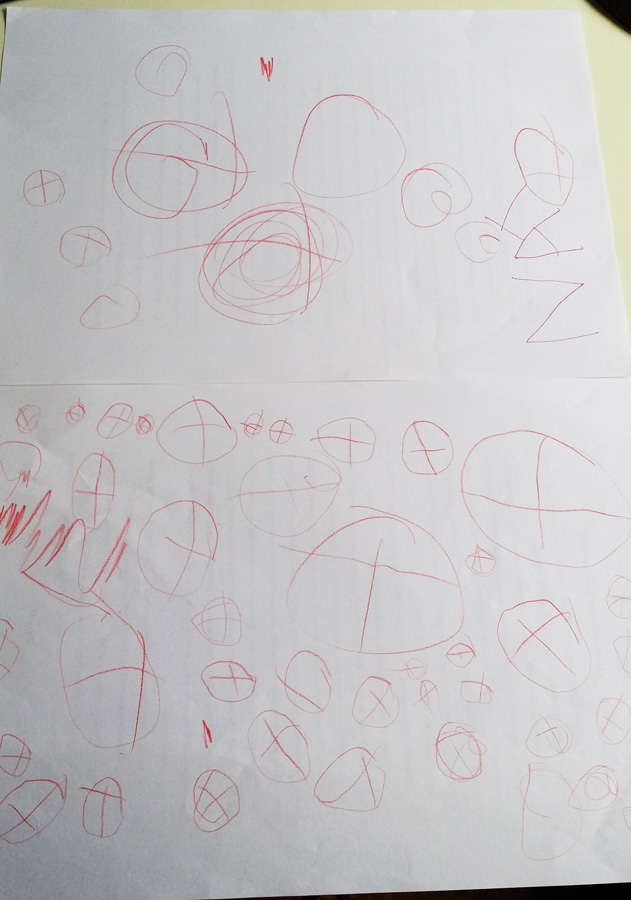 Little Nat can also draw many basketballs (his favourite!)