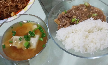 A hearty meal with just bulgogi pork with rice and soup