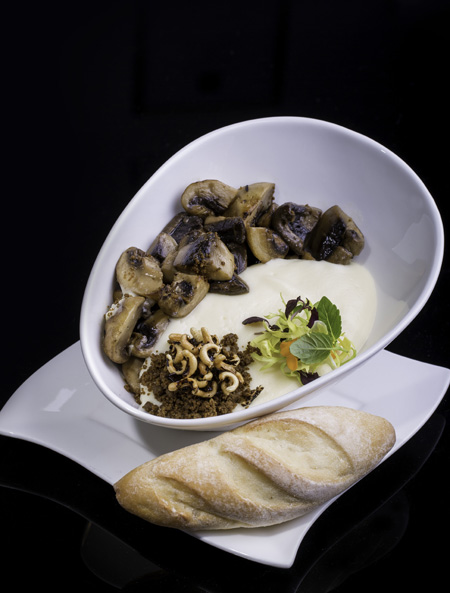 Why I am not a food blogger: The first dish that came was this -Sautéed Mushrooms with Espuma Potato Foam (SGD6.80) - and I started feeding hungry kids. Photo credit: E'spuma Lab