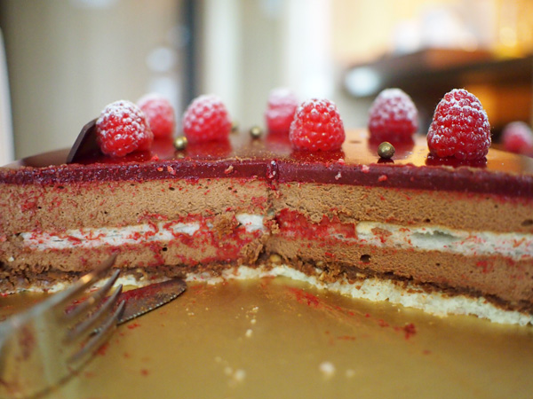 Decadent raspberry chocolate mousse cake
