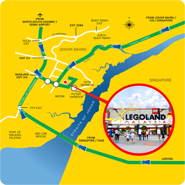 Map from LEGOLAND Malaysia Resort Website. More directions here.