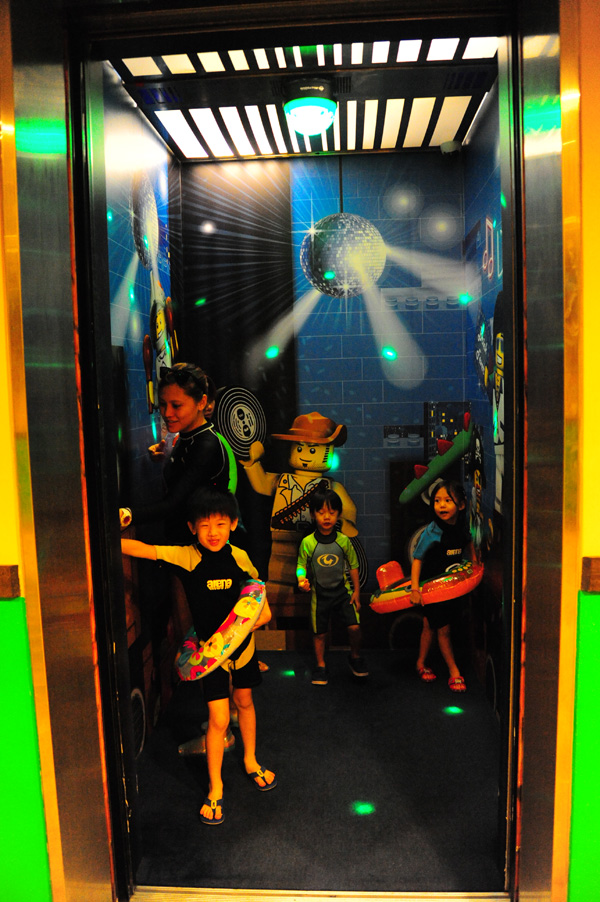 Cannot miss the chance to do the elevator dance in all the themed elevators with disco music and disco lights! Awesome!
