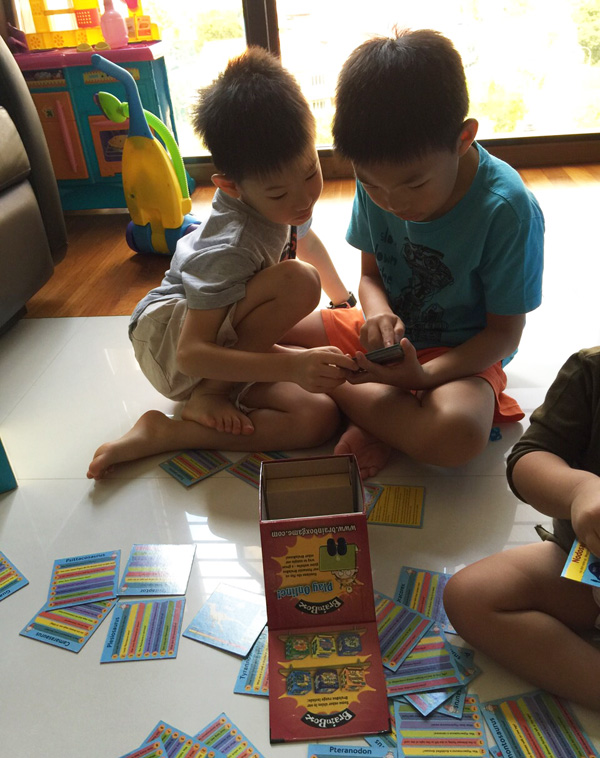 Playing BrainBox with Gabriel, his bff for now