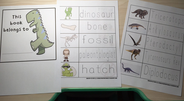 Ladies and Gents, I need you all to meet Beth Gorden, one supermom who runs 123 Homeschool 4 Me, which has 300+ free printables and teaching ideas. She's got awesome theme packs to use, and here, I created a differentiated set from her free Dinosaur pack for my kids aged 6, 4.5 and 3