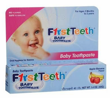 First Teeth Baby Toothpaste old packaging (Credit: Aquafresh)