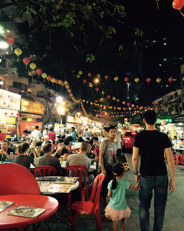 Walking down the food street at Jalan Alor