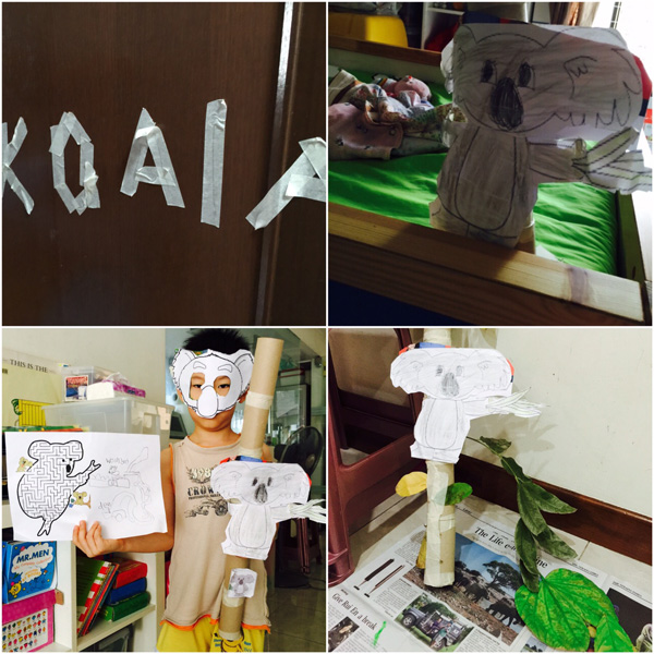 Wa la! Koala mask ready, koala mazes done and koala enclosure ready for visit!