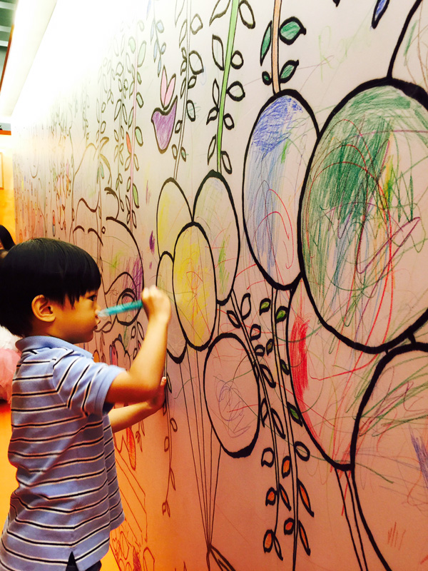 The kids had their doodling dream and major graffiti fantasy come true at this installation