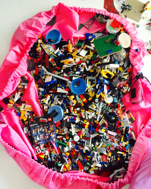 Our LEGO bricks lay in this huge drawstring pink bag!