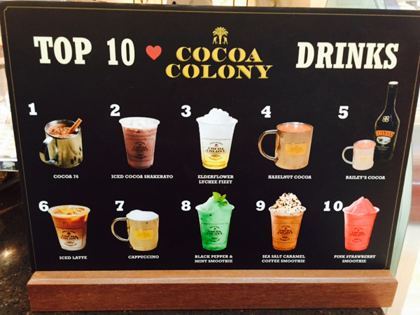 From this list of Top 10 Faves at Cocoa Colony