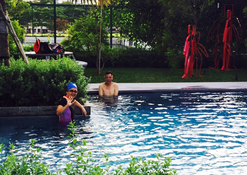 Grandpa and Grandma jumped in the pool...