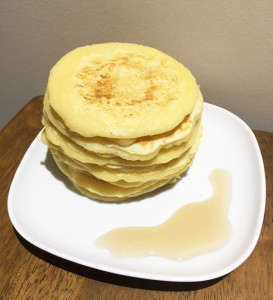 A stack of fluffy pancakes for breakfast for the kids by Helper A, thanks to the cookbook